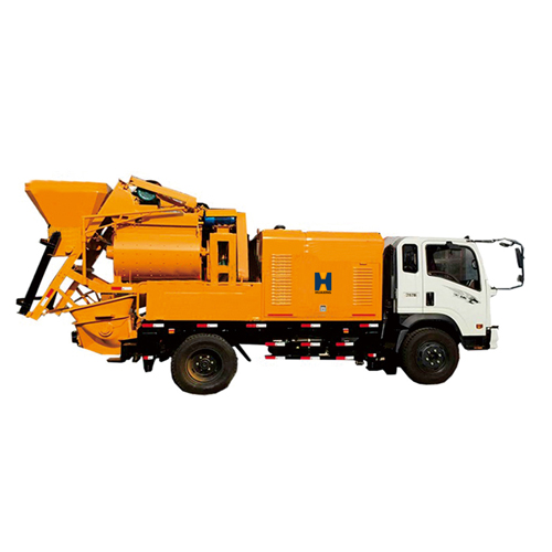 Truck mounted concrete mixer pump